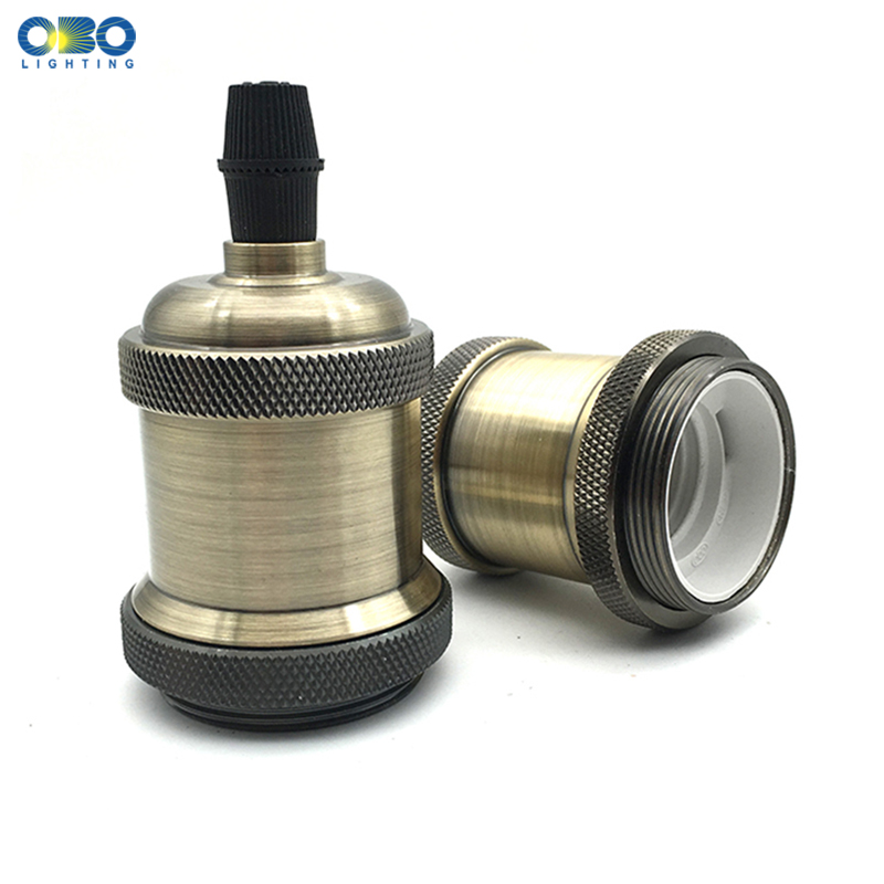 Vintage Edison Lamp Base Aluminum Pendant Bulb Retro Decorative Light Fittings Lamp Head Light Socket 5 Color E27 Lamp Holder