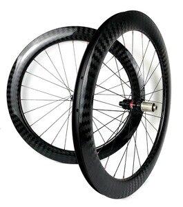 Image 2 - 60mm עומק 25mm רוחב דיסק בלם פחמן גלגלי נימוק מכריע/צינורי Cyclocross אופניים פחמן זוג גלגלים עם 411/ 412CL רכזות 12 K אריג