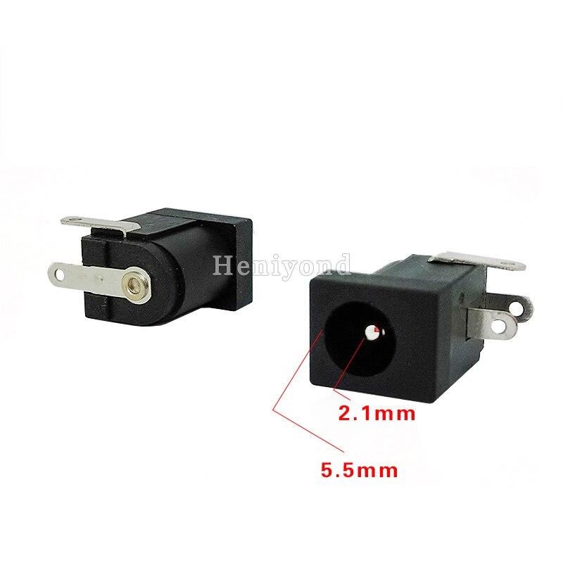5Pcs PCB Mount 5.5 X 2.1 Mm Female 3P DC Power Black Jack Plug Socket Connector