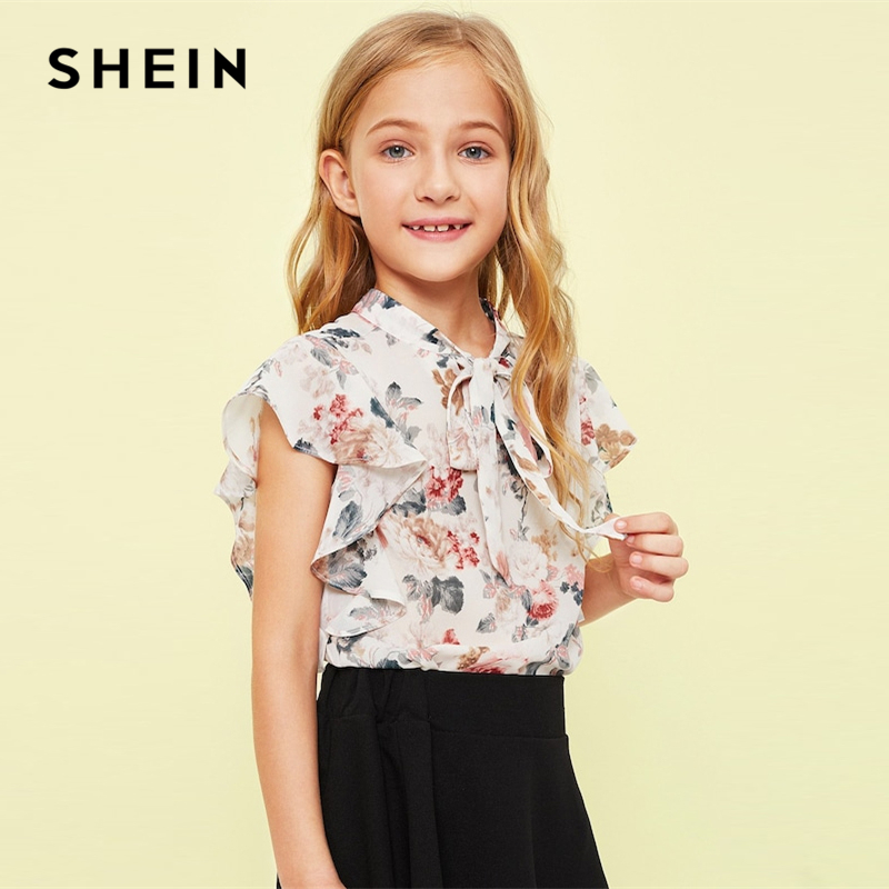 SHEIN Kiddie Tie Neck Ruffle Armhole Floral Print Girl Cute Blouse Children 2019 Summer Butterfly Sleeve Button Kids Shirts Tops