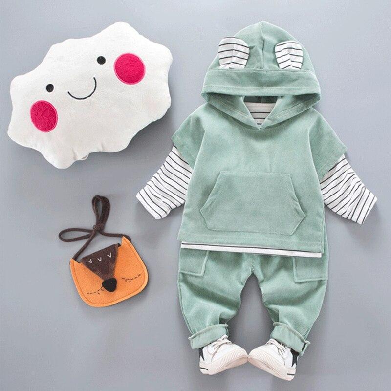 Baby Boys Clothing Set Autumn 2017 Outfits Suit Cute Animal Ear T-shirt+Pants+Vest 3Pcs Suit For Kids Corduroy Children Clothes стоимость