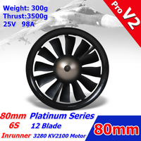FMS 80mm Ducted Fan EDF Jet 12 blade With 3280 KV2100 Motor Engine Power System 6S 3500g Thrust RC Airplane Model Plane Parts V2
