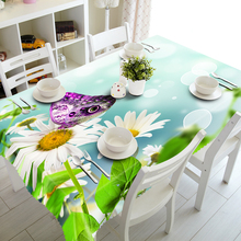 Round 3d Tablecloth White Sunflower&Colorful Butterfly Pattern Thicken Polyester Cotton Rectangular Table cloth Home Decoration hot sale sunflower butterfly stamp letter pattern pillowcase