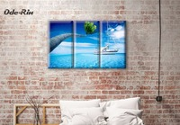 Ode Rin Modern Simple Canvas Painting Sea Yacht 5 Piece Canvas Art No Frame Wall Art