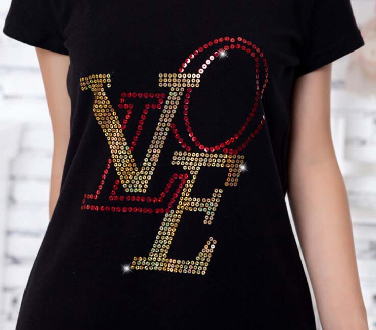 2pc/lot Sequins T-shirt love decoration hot fix rhinestone motif iron on crystal transfers design rhinestones for sweater