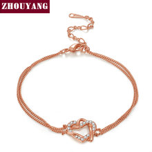 Top Quality Luxury Gold Heart Rose Gold Color Bracelet Jewelry Made with Genuine ELEMENTS Austrian Crystal Wholesale ZYH109