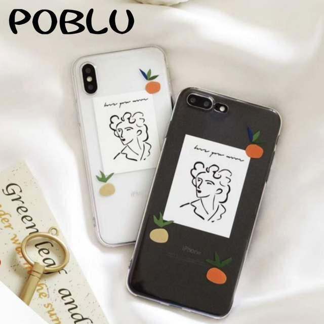 POBLU Fashion Illustration Portrait Case For iphone XR XS Max Orange  Transparent TPU Soft Back Phone Cover For iphone 6s 7 8Plus