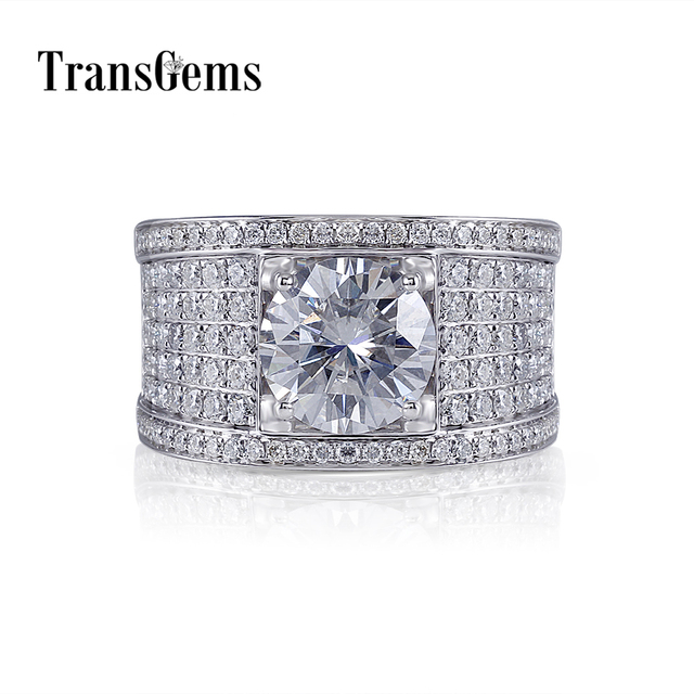 Transgems Luxury 14K 585 White Gold Center 10mm F Color VVS Moissanite Engagement Ring for Men Wedding Band with Accents