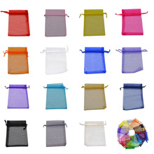 100Pcs Jewelry Organza Bag 7x9 9X12 11x16 13x18 15x20cm Drawable Wedding Party Candy Gift Pouches Decoration Packing Supplies