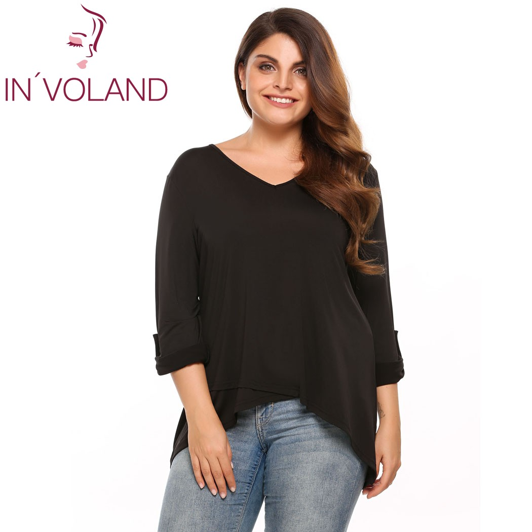 9bdeae6736f US $24.14 |IN'VOLAND Women Vintage T Shirt OverSize Sprint Autumn Casual V  Neck Long Sleeve Asymmetrical Lady Tshirt Top Solid Tee Big Size-in ...