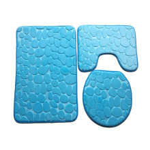 Three Pieces Embossed Flannel Bathroom Mat Set Water Absorbent U-shape Bathtub Toilet Mats Carpets Rugs Toilet Seat Lid Cover tower pinted three piece toilet mat set