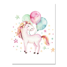 Cartoon Unicorn Canvas Painting