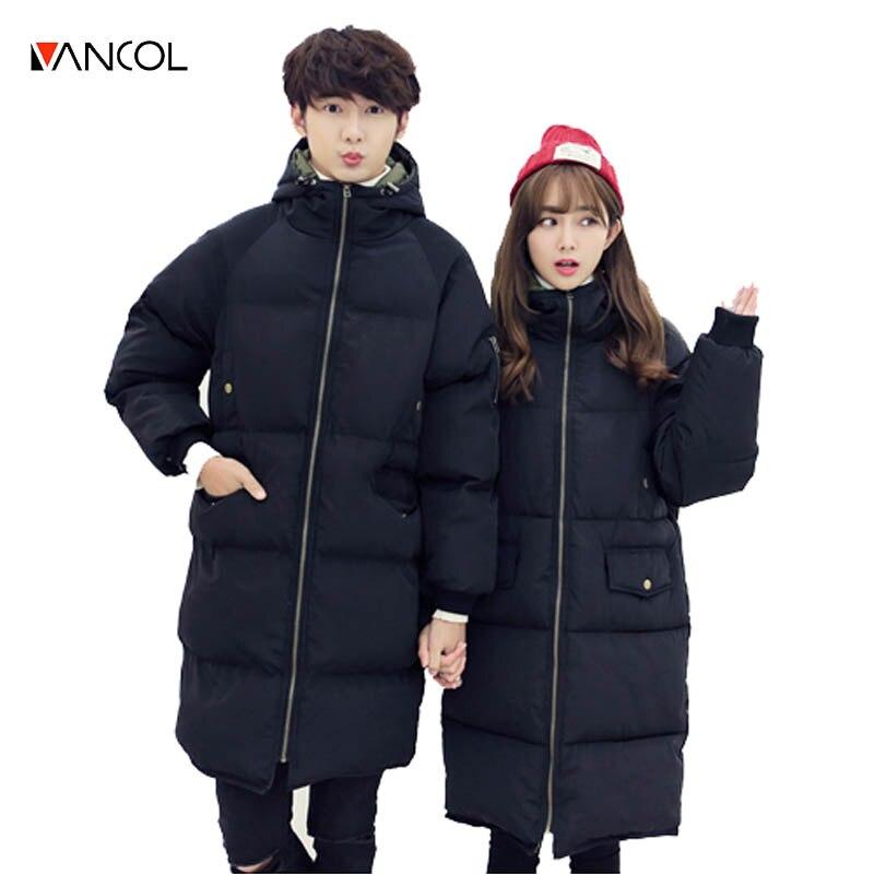 vancol plus size couple clothes ukraine warm thick female coat hooded men cotton down jackets unisex women winter long jacket