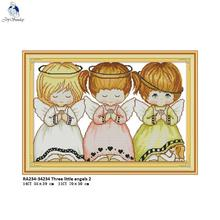 Joy Sunday Needlework,DIY Handmade DMC Cross stitch,Sets For Embroidery kits,Three little Angels Patterns Counted Cross-Stitch