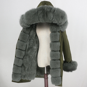 Image 2 - Oftbuy 방수 파카 롱 리얼 모피 코트 천연 너구리 여우 모피 칼라 후드 토끼 모피 라이너 두꺼운 따뜻한 겉옷 streetwear