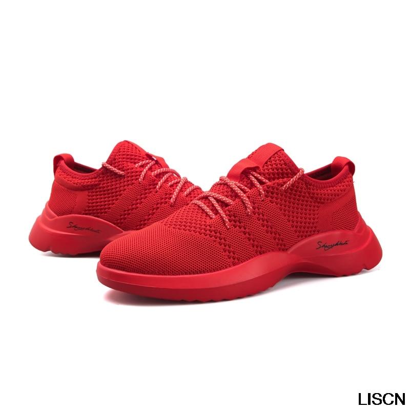 Printemps Mâle Sport Formateurs Adulte Mode Mens Chaussures D'air Noir Coussin Gris D'été Respirant Casual gris rouge Krasovki Noir Sneakers OXwTlZiukP