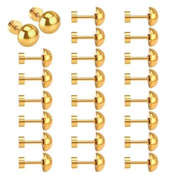 LUXUKISSKIDS Wholesale Screw Back Earings Gold Ball Stud Earring Stainless Steel For Women Earrings Set Korean Fashion Jewelry