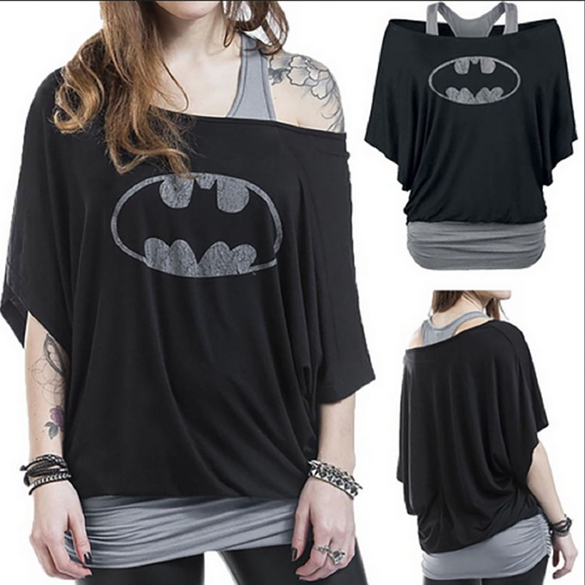 2017 Marka Batman T Koszula Kobiety Czarny Slim Off shoulder  62pGn
