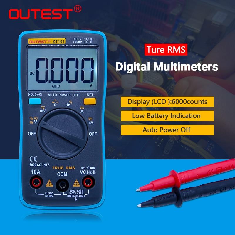 Digital Multimeter 6000 counts Backlight AC/DC Ammeter Voltmeter Ohm Portable Meter ZT101 professional and practical an8001 digital multimeter 6000 counts backlight ac dc ammeter voltmeter ohm portable meter