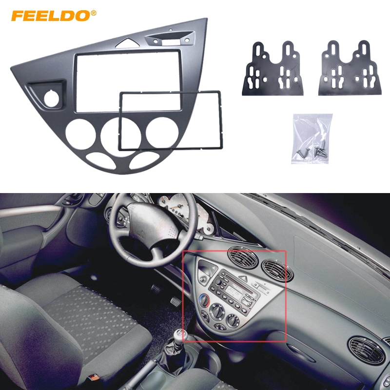 FEELDO Gray Car 2DIN Stereo Panel Fascia Radio Refitting Dash Trim Kit For Ford Focus 98~04(LHD)/Fiesta 95~01(LHD) #FD5054