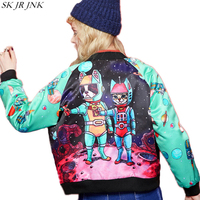 Spring Woman Long Sleeve Cartoon Embroidery Printed Baseball Uniform Coat Female Fashion Pocket Zipper Personalized Tops
