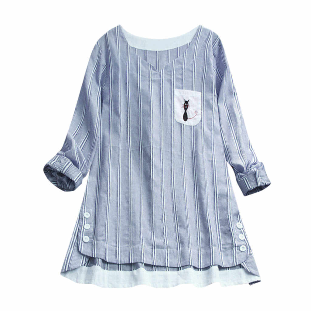 CHAMSGEND Casual Tees Women Ladies Striped Cat Embroidery Round Neck Long-Sleeved Top Female Cotton Shirt Solid Chemise 17DEC.27