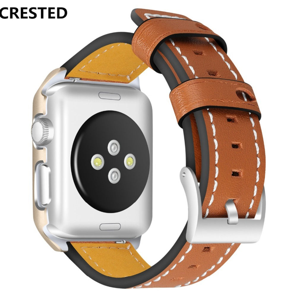 CRESTED Leather strap For Apple watch band case 42mm 38mm iwatch series 3 2 1 wrist bands bracelet watchband belt & frame cover crested crazy horse strap for apple watch band 42mm 38mm iwatch series 3 2 1 leather straps wrist bands watchband bracelet belt
