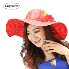 2016 New Women Celebrity Sun Hat Summer Beach Cap Straw Hat Wide Large Brim Folding Floppy Hat z0027