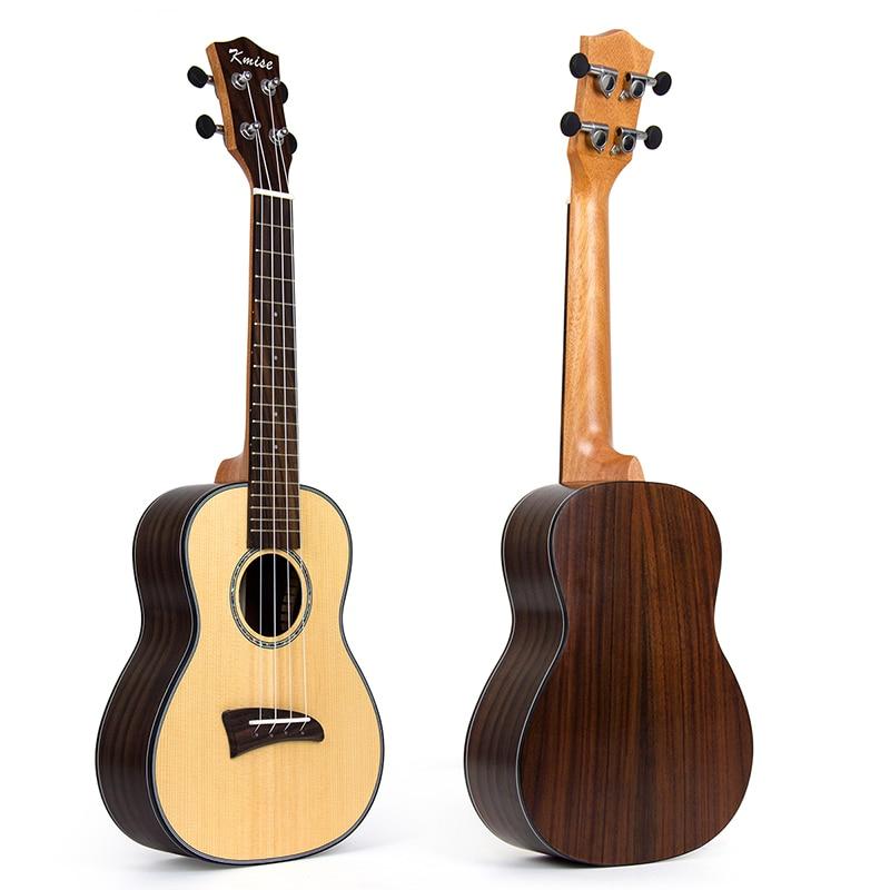 Kmise Solid Spruce Concert Ukulele Ukelele Uke Hawaii Guitar 23 inch 18 Fret with Rosewood kmise concert ukulele solid spruce ukelele 23 inch 18 fret uke 4 string acoustic hawaii guitar with gig bag