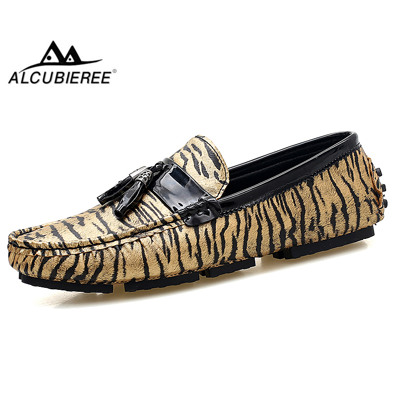 ALCUBIEREE Summer Mens Leather Moccasins Casual Slip-on Leopard Loafers with Tassels High Quality Driving Shoes for Men fashionable tassels ornament leopard pattern flat shoes loafers black leopard pair size 36