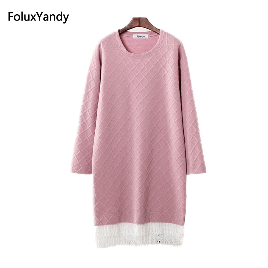 Long Sweaters Women Spring Autumn Style New O neck Lace Patchwork Sweater Knitting Pullovers Plus Size