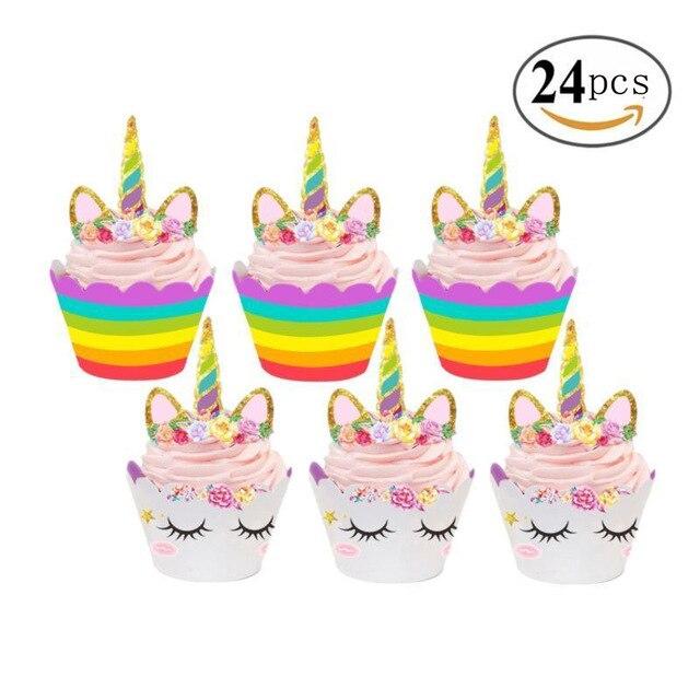 Unicorn Cake Decorations Kit For Sheet Topper Handmade Horn Ears And Flowers Set Kids Birthday Toys