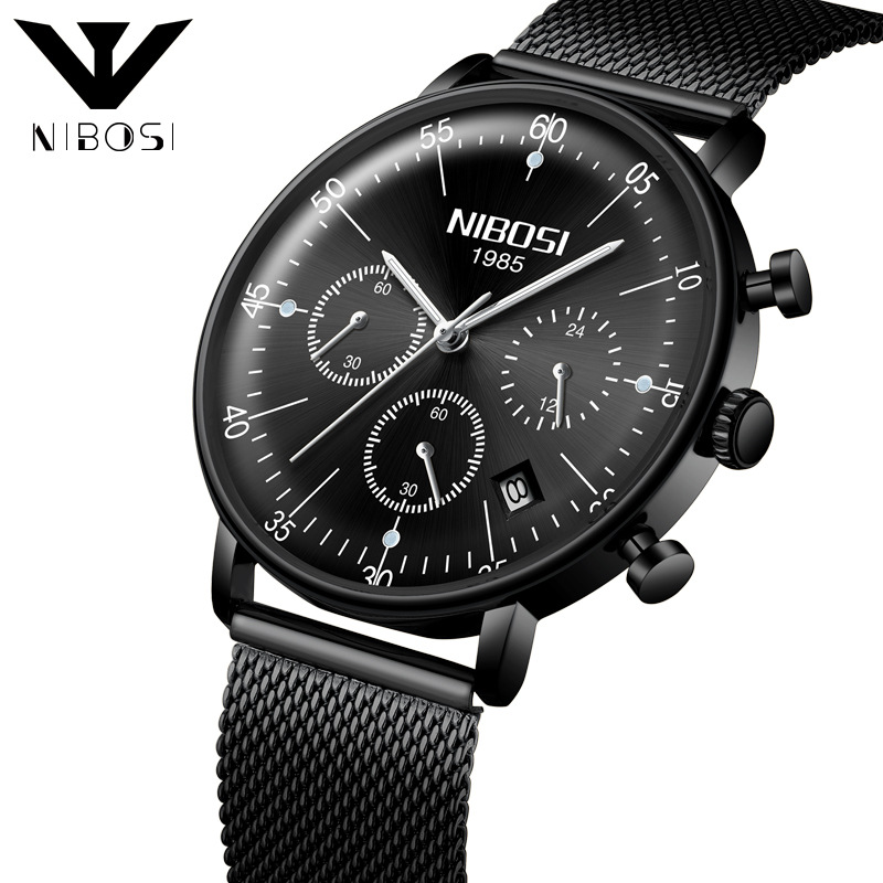 Luxury Fashion Men's Business Watch Black Waterproof Stainless Steel Dial Clock Quartz Watches Sports Male Wristwatch fashion casual luxury large dial mens wristwatch big dial military men sport quartz male watches business stainless steel watch