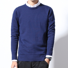 Sweater spring and autumn men's cotton round neck solid color base casual sweater fat people large size knit pullover S-6XL