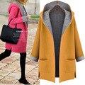 2016 nuevo estilo de gran tamaño de las mujeres con cuello en v flojo encapuchado de la rebeca y la grasa de las mujeres abrigo de lana