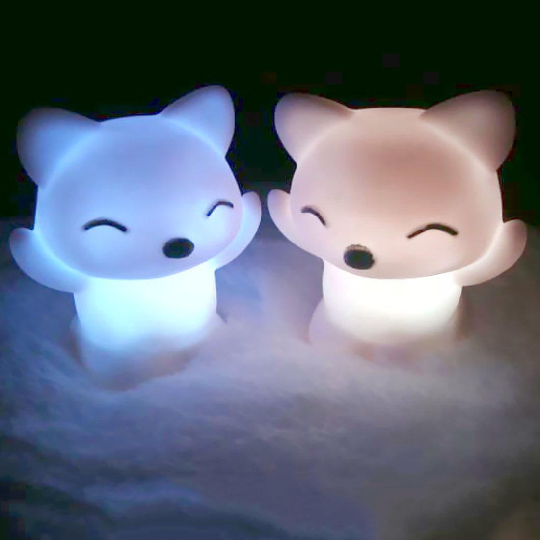 LED Night Light 7 Changing Colors Lovely Fox Shape LED Light Button Battery Home Decoration