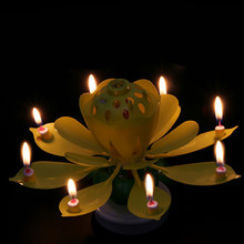 Useful Birthday Candles Beautiful Musical Lotus Flower Happy Birthday Party Gift Rotating Lights Decoration 8 Candles Lamp(China)