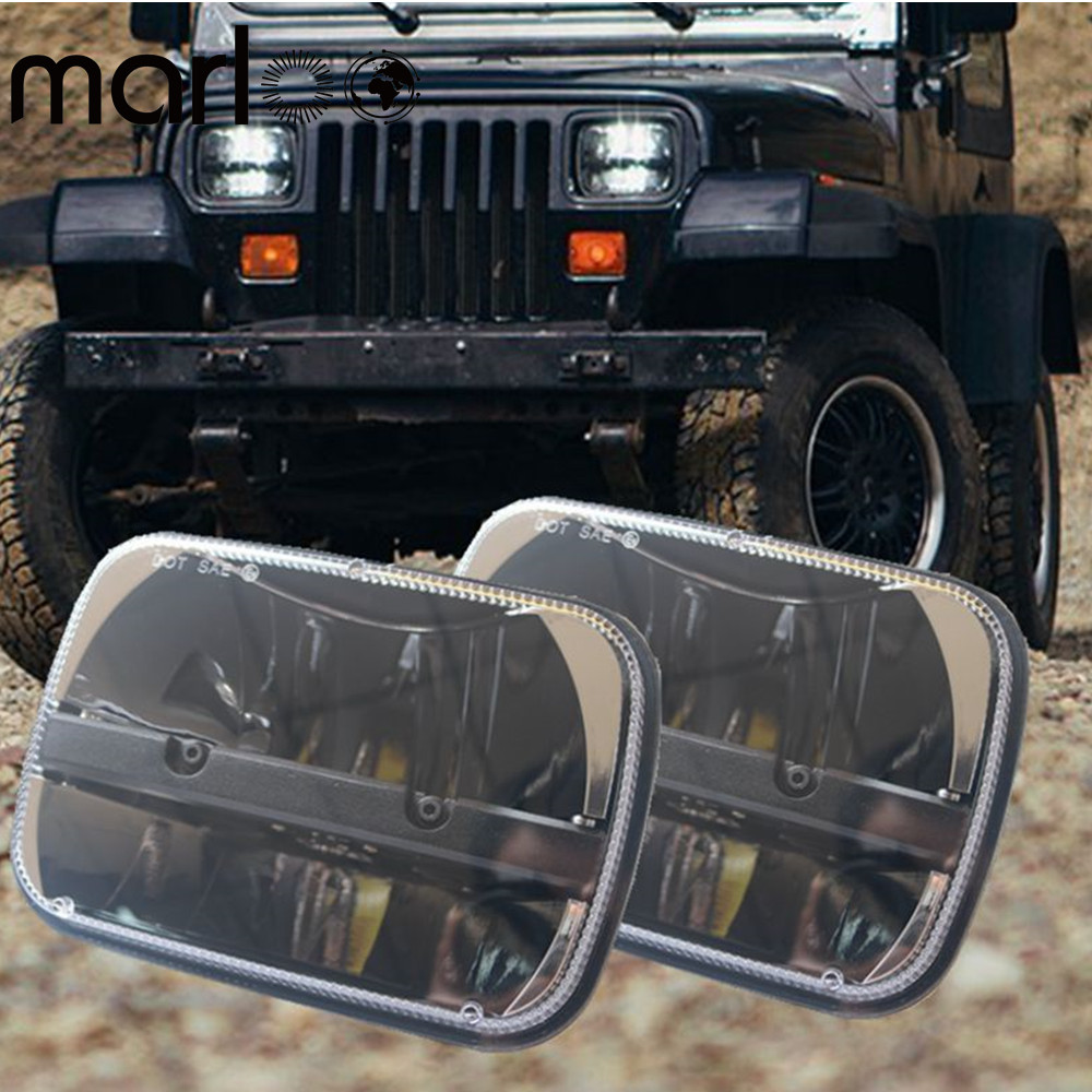 Marloo For Jeep Cherokee XJ Trucks 5x7 Auto square led headlamp 5x7 Inch led headlight 6x7 high low beam square led headlights 9012 hir2 led headlight bulbs 50w 8000lm fanless auto headlamp conversion kit for toyota chevrolet cadillac buick gmc ford jeep