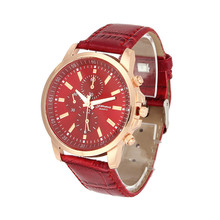 Essential 2016 New Fashion Ladies Girl Unisex  Geneva Faux Leather Wrist Watch Quartz Dress Watches Women  Relogios