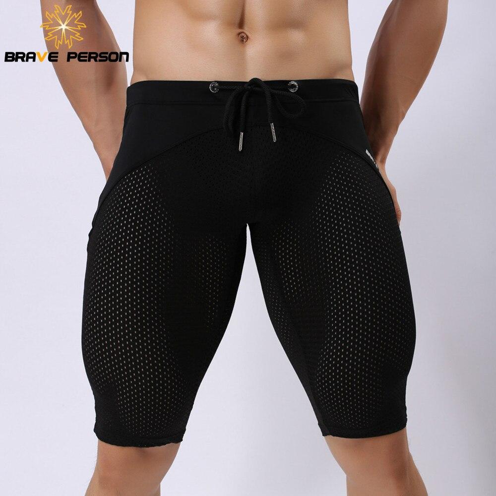 BRAVE PERSON Swimwear Fabric Men   Board     Shorts   Breathable Mesh Tight Elastic Beach   Shorts   Men Knee Length   Shorts   New B2240