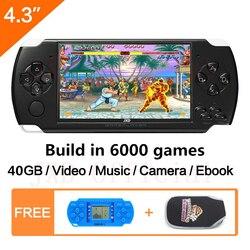 شحن مجاني 4.3 بوصة وحدة تحكم بجهاز لعب محمول 40 جيجابايت المحمولة لعبة فيديو وحدة التحكم بنيت في 6000 الألعاب الكلاسيكية MP3/4 DV/تيار مستمر الكتاب ا...