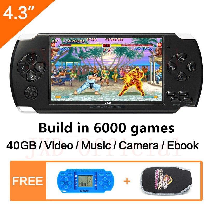 O Envio gratuito de 4.3 polegada handheld game console 40GB console de videogame portátil construído em 6000 jogos clássicos MP3/ 4 DV/DC Ebook