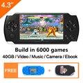 O Envio Gratuito De 4.3 Polegada Handheld Game Console 40 Gb Portátil Vídeo Game Console Construído Em 6000 Jogos Clássicos Mp3/4 Dv/dc Ebook