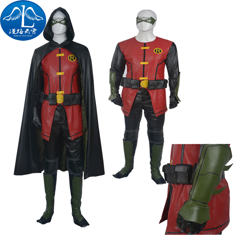 2016 New Original High Quality Young Justice Robin Cosplay Costume Outfit Customized Hallowmas Cloak