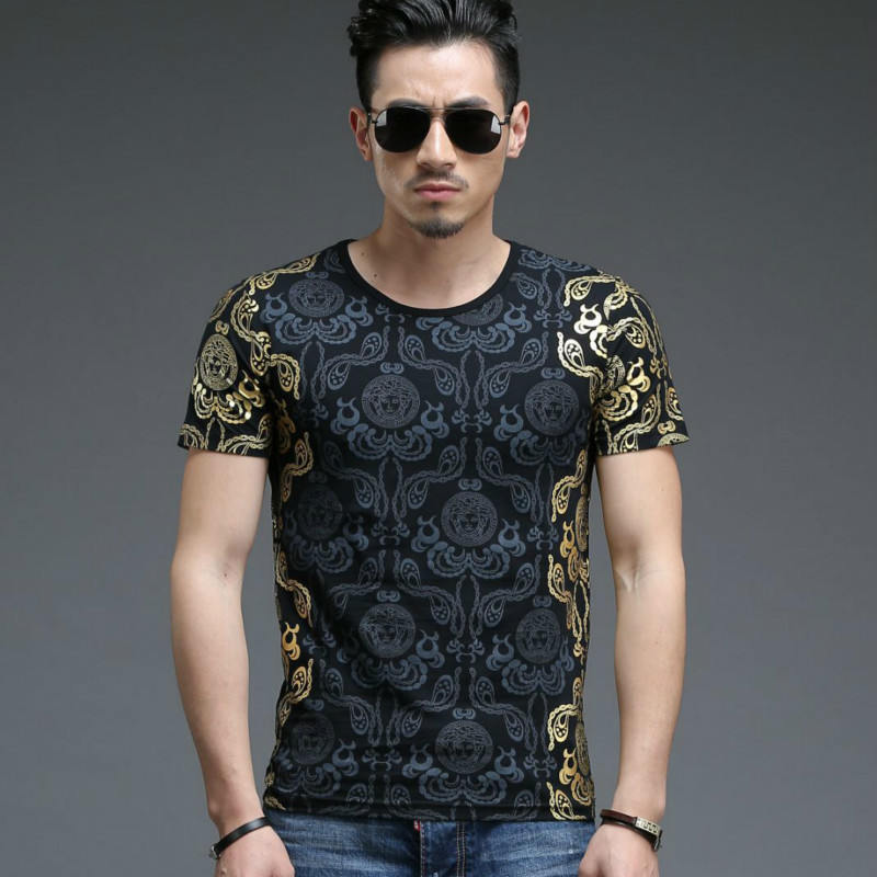 Fashion tshirts Gilded Design Men's short sleeve sleeved men t-shirt mens clothing t shirts tee shirt homme slim fit