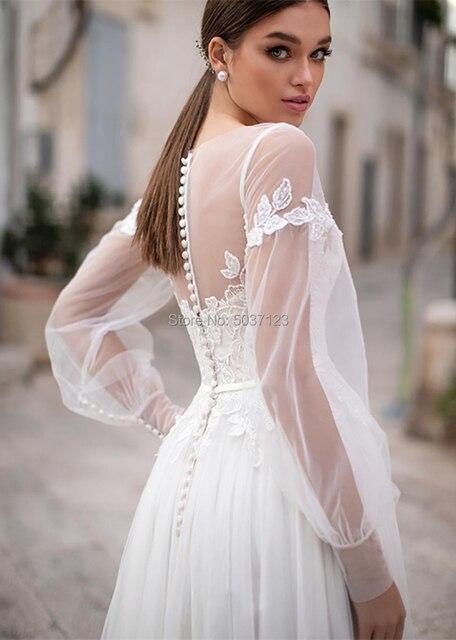 Sexy Sheer Neckline Wedding Dresses Bohemian Puff Long Sleeves Appliques Lace Wedding Gowns Buttongth Vestido De Noiva for Bride 3