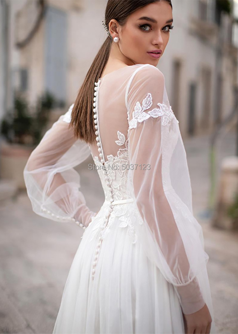 Image 3 - Beach Wedding Dresses 2019 Lace Appliques Puff Long Sleeves Bridal Wedding Gowns Backless Floor Length Vestido De Noiva-in Wedding Dresses from Weddings & Events