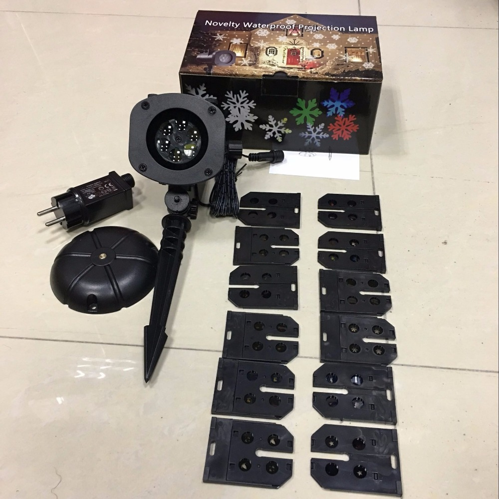 LED Garden Laser Projector Lamp with 12pcs Xmas Patterns IP44 Waterproof Holiday Projector For Christmas Outdoor Landscape Decor цена