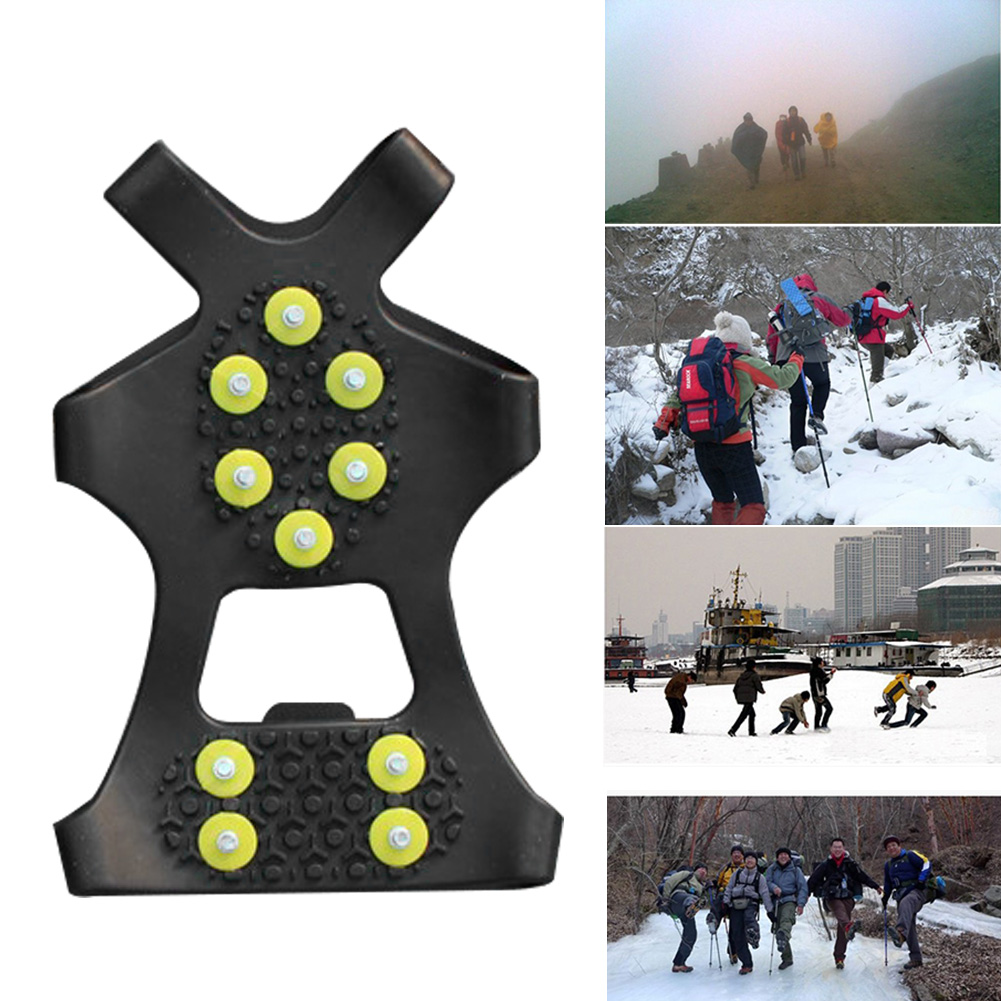 1 Pair S M L 10 Studs Anti-Skid Snow Ice Climbing Shoe Spikes Ice Grips Cleats Crampons Winter Climbing Anti Slip Shoes Cover 4