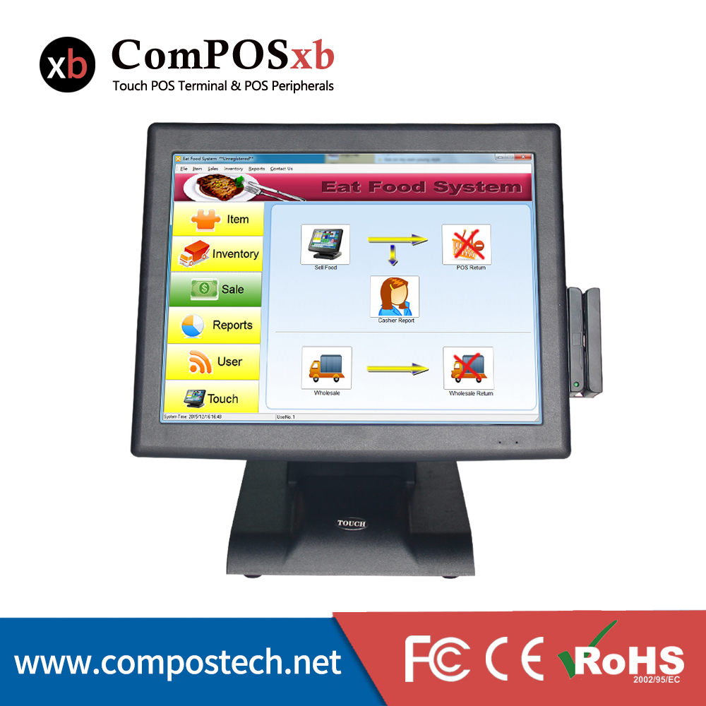 Ensemble complet POS Matériel 15 pouce Tout En Un PC Écran Tactile Résistif POS Terminal Avec Lecteur de carte